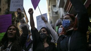 FILE - In this Monday, March 8, 2021, photo, protesters chant slogans during a rally to mark International Women's Day in Istanbul.