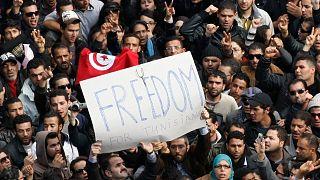 صورة أرشيفية من مظاهرات الثورة التونسية