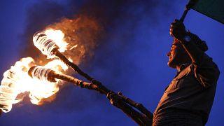 الاحتفالات بعيد النوروز، رأس السنة الفارسية في شمال أربيل في المنطقة الكردية في العراق.