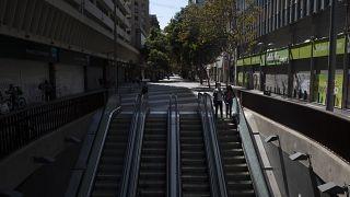 Zona comercial del Paseo Ahumada en Santiago este sábado