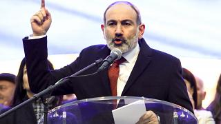 Armenian Prime Minister Nikol Pashinyan addresses his supporters during a rally in his support in the center of Yerevan, Armenia