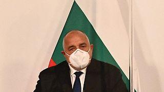 FILE- Bulgaria's Prime Minister Boyko Borisov attends a press conference  on March 16, 2021, at the Chancellery in Vienna, Austria.