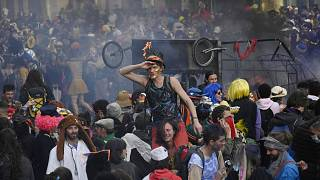 About 6,500 people defied COVID-19 restrictions to take part in a carnival procession in Marseille, France, on March 21, 2021.