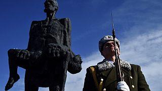 Солдат стоит у мемориального комплекса Хатынь.