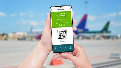 Covid vaccination passport on smart phone