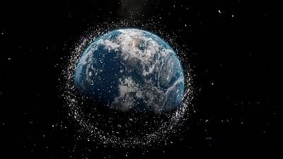 Animation of space debris orbiting Earth