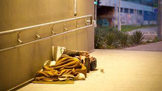 أحد المشردين في بودابست (المجر)