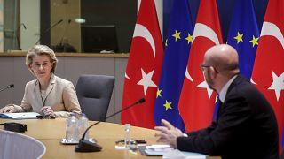 European Commission President Ursula von der Leyen, left, and European Council President Charles Michel