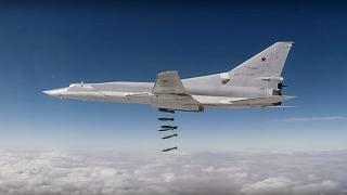A Russian Tu-22M3 long-range bomber strikes Islamic State targets in Syria in a photo from the Russian Defence Ministry. 2017