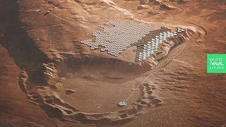 La città di Nüva a Tempe Mensa, Marte
