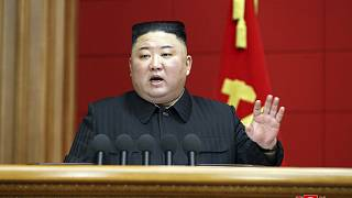 FILE: In this photo provided by the North Korean government, Kim Jong Un speaks in a conference in Pyongyang, North Korea, Saturday, March 6, 2020.