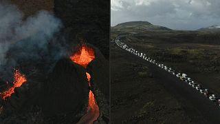 Исландия: извержение вулкана на полуострове Рейкьянес