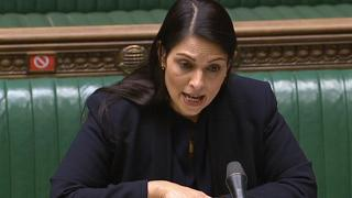 In this video grab from a broadcast by the UK Parliament's Parliamentary Recording Unit (PRU), UK Home Secretary Priti Patel proposes changes to asylum rules, March 24, 2021.