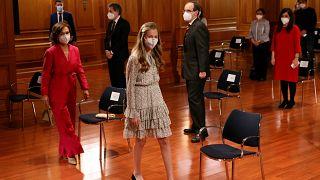 La princesa Leonor durante su primer acto oficial en solitario en el Instituto Cervantes