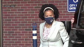 Kim Janey a su llegada al consistorio de Boston el lunes.