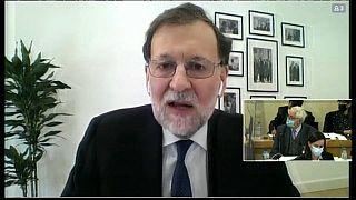 Ex-Ministerpräsident Mariano Rajoy bei Zeugenaussage per Video