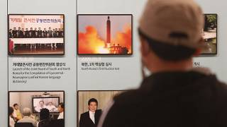A photo showing North Korea's missile launch is displayed at the Unification Observation Post in Paju, near the border with North Korea, South Korea, March 24, 2021.