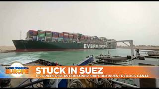 Mega container ship stuck in the Suez Canal in Egypt
