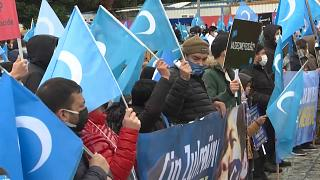 Protesters supporting Uyghurs in Turkey