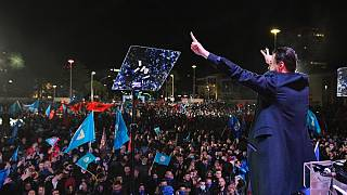 Democratic Party leader Lulzim Basha speaks to supporters in Tirana.