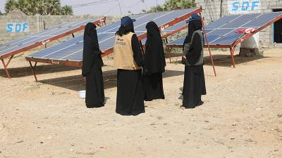 Friends of the Environment Station, a solar panel station working in Yemen's war torn region of Abs.