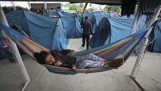 Campamento de refugiados en Arauquita, Colombia