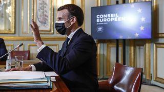 Эммануэль Макрон на пресс-конференции по итогам первого дня онлайн-саммита ЕС