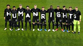 Germany's players pose for a team photo before their FIFA World Cup qualifying match against Iceland.