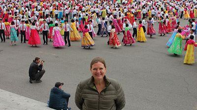 Lisa Jackson at a mass dance in Pyongyang, North Korea