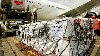 A shipment of COVID-19 vaccines distributed by the COVAX Facility arrives in Abidjan, Ivory Coast, Friday Feb. 25, 2021.