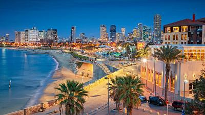 The Tel Aviv skyline is a blend of beaches and high-rise buildings