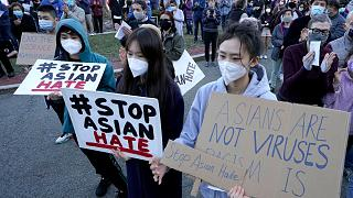 Protesters march at 'Stop Asian Hate' rally in Portland