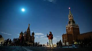 Moscow's Red Square lit only by the moon after the lights turned off for one hour to mark Earth Hour