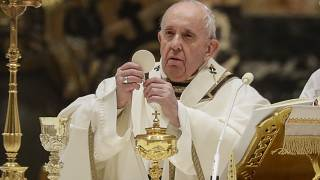 Pope Francis celebrates a Mass in St. Peter's Basilica at the Vatican on Feb. 2, 2021.