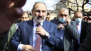 Armenian Prime Minister Nikol Pashinyan in Yerevan, Armenia on Feb. 25, 2021.
