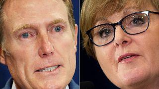Avustralya'da görevden alınan eski Endüstriyel İlişkiler Bakanı  Christian Porter (solda) ve eski Savunma Bakanı Linda Reynolds (sağda)