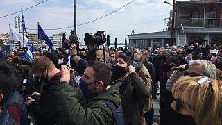 Λέσβος, διαδήλωση