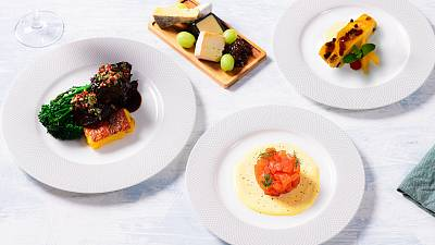 British Airways' Feast Box meal kit plated up.