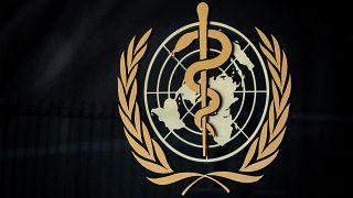 منظمة الصحة العالمية عند مدخل مقرها الرئيسي  في جنيف