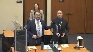Derek Chauvin (R) with his defense attorney Eric Nelson (L) introduce themselves to potential jurors on March 23, 2021 at the Hennepin County Courthouse in Minneapolis.
