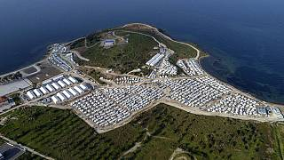 Das Flüchtlingslager Karatepe aus Lesbos, das EU-Kommissarin Ylva Johansson besucht hat