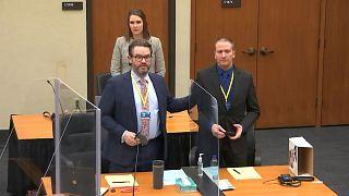 defense attorney Eric Nelson, left, former police officer Derek Chauvin, right