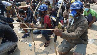 تظاهرکنندگان در میانمار