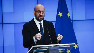Le président du Conseil européen Charles Michel lors d'une conférence de presse conjointe et virtuelle avec le directeur de l'OMS. Bruxelles, le 30 mars 2021