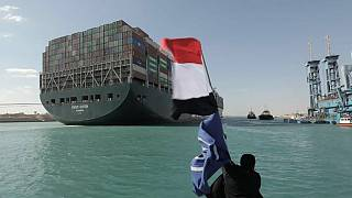 Backlog of ships sail through Suez Canal after Ever Given refloated