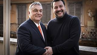 Orbán Viktor miniszterelnök és Matteo Salvini, a Liga vezetője Rómában 2020. február 4-én.