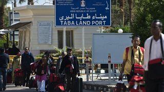 ميناء طابا البري في منتجع جنوب سيناء المصري بالقرب من الحدود مع إسرائيل.