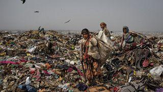 نساء يجمعن مخلفات صالحة للاستعمال أو لإعادة التدوير - الهند