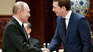 Archiv: Der russische Präsident Wladimir Putin und Österreichs Kanzler Sebastian Kurz beim Belt and Road Forum (BRF) in Peking, China, 27.04.2019