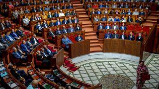 خلال جلسة عامة مشتركة مخصصة لعرض برنامج الحكومة من قبل رئيس الوزراء المغربي في الرباط، 2017.